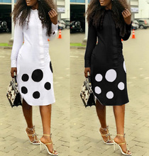 New Sundress Stretch Fabric. Digital Positioning Printed Long Sleeve Polka Dot Mid-calf Dress. Zipper Mid-waist Style 2 Colors