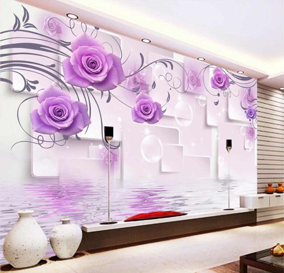 Beibehang Custom Wallpaper Living Room Bedroom Fresco Romantic Beauty Purple Rose 3D Reflection TV Sofa Background 3d wallpaper