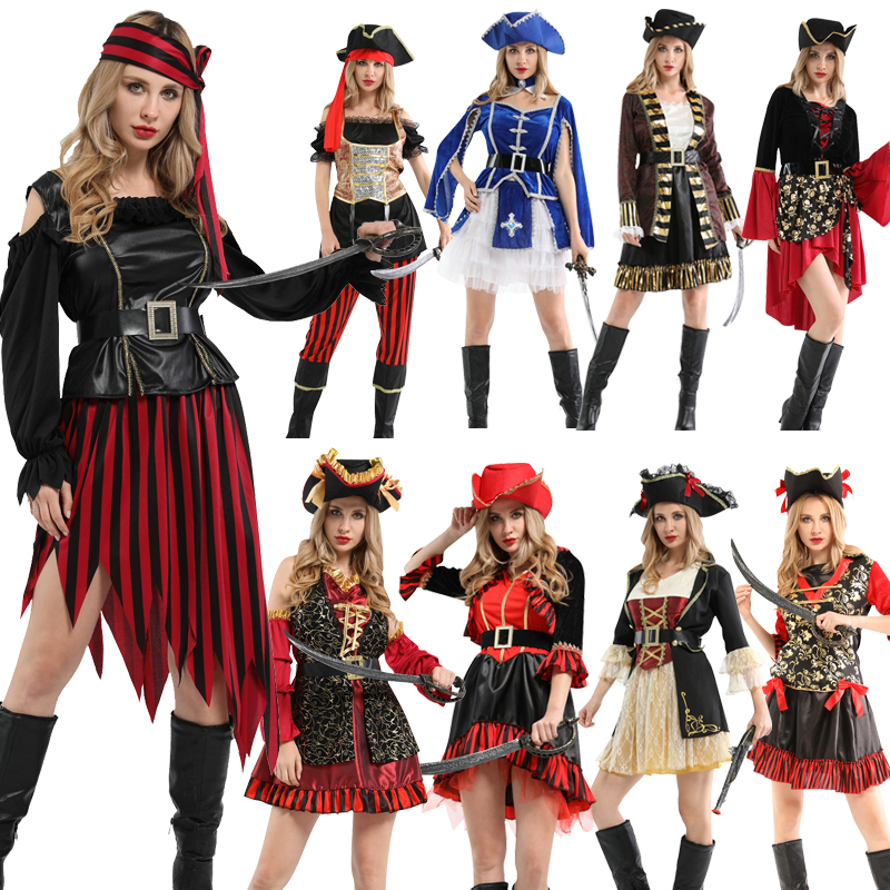 Hot!Captain Pirates Caribbean Pirates Of The Caribbean Jack Sparrow Hat Halloween Costume Adult Women Cosplay Pirate Female