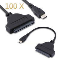 USB 3.1 Type C To SATA 22 Pin HDD Hard Disk Driver SSD Adapter Cable USB C 100 PIECES