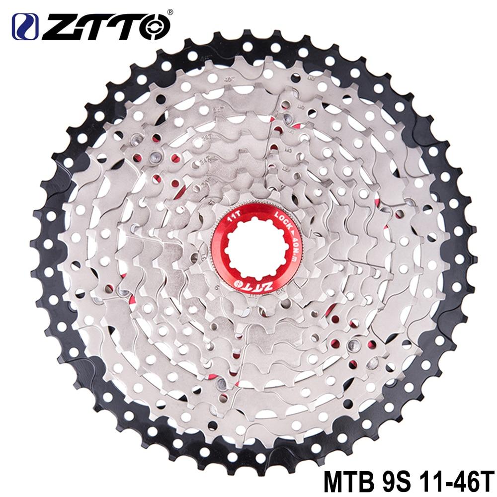 цена ZTTO MTB 9 Speed 11-46T Cassette Bicycle Freewheel Mountain Bike 9s Sprockets 9v K7 Ratios Compatible with M430 M4000 M590 Part в интернет-магазинах