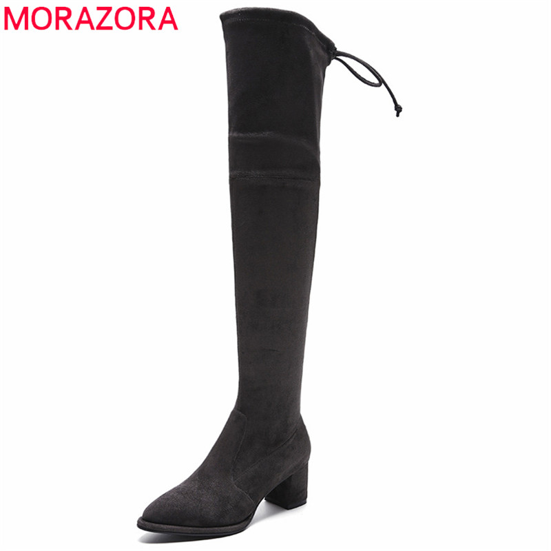 MORAZORA 2018 plus size 33-42 pointed toe women boots zip flock leather thigh high boots autumn fashion square heel long boots women stretch flock leather over the knee boots sqaure high heel fashion pointed toe boots autumn winter long boots plus size 43