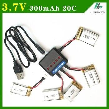 5 unids/set 3,7 V 300mAh 20C para Eachine E55 FQ777 FQ17W juegos de cargador de batería con 1 a 5 Cable cargador para recambio de cuadrirrotor RC