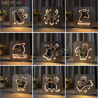 Wooden Lamp Light Kids Bedroom Decoration Warm Light LED USB Night Light For Children S Day