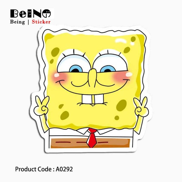 Spongebob Cartoon Anime Cute Sticker Yellow Waterproof Luggage