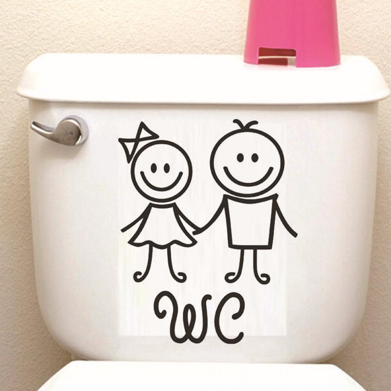 1pc Cartoon WC Bathroom Door Wall Stickers Toilet Home