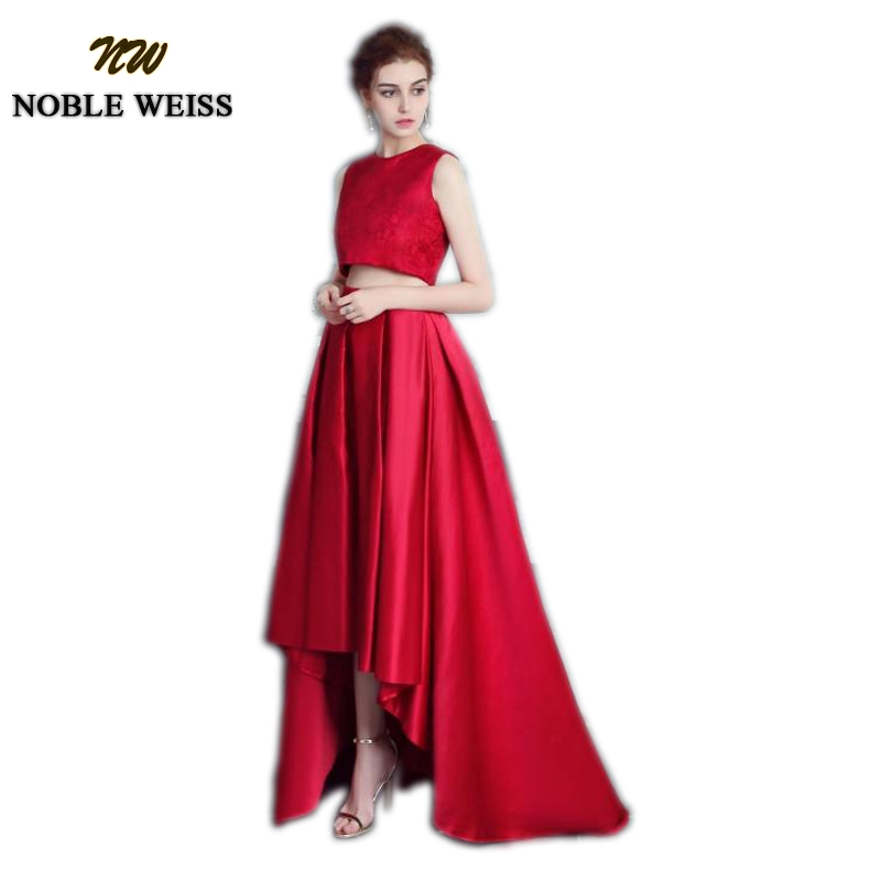 NOBLE WEISS Lace   Prom     Dress   Two Piece Wedding Party   Dress   Satin Skirt   Prom   Gown Sleeveless Floor Length Evening   Dresses