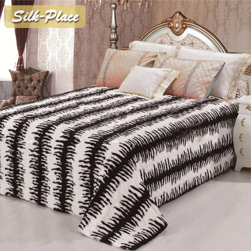 Silk Place Coral Fleece Fabric Polaire Plaid Bedclothes Flannel New Fuzzy Child Duvet Cover Fleece Blanket Knitted Blanket image
