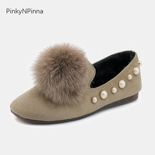 women winter loafers flock upper pearl embellished fur plush inside non slippery soft bottom driving casual shoes for ladies недорго, оригинальная цена