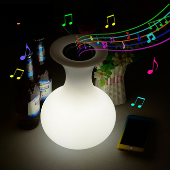 Outdoor waterproof LED night lights usb rechargeable RGB bluetooth speaker with 24 Keys Remote Control decoration lighting lamp classic plastic pe outdoor waterproof led floor lamp remote control rechargeable led glowing flower pot floor boughpot