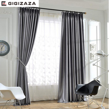 Silk solid shinny blinds fabric curtain for livingroom grey tan GIGIZAZA black out custom size shade american style for bedroom