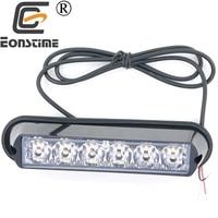 12V 24V Super Bright Front Bumper Grille 6 LED 6W Warning Strobe Flash Light Black Base