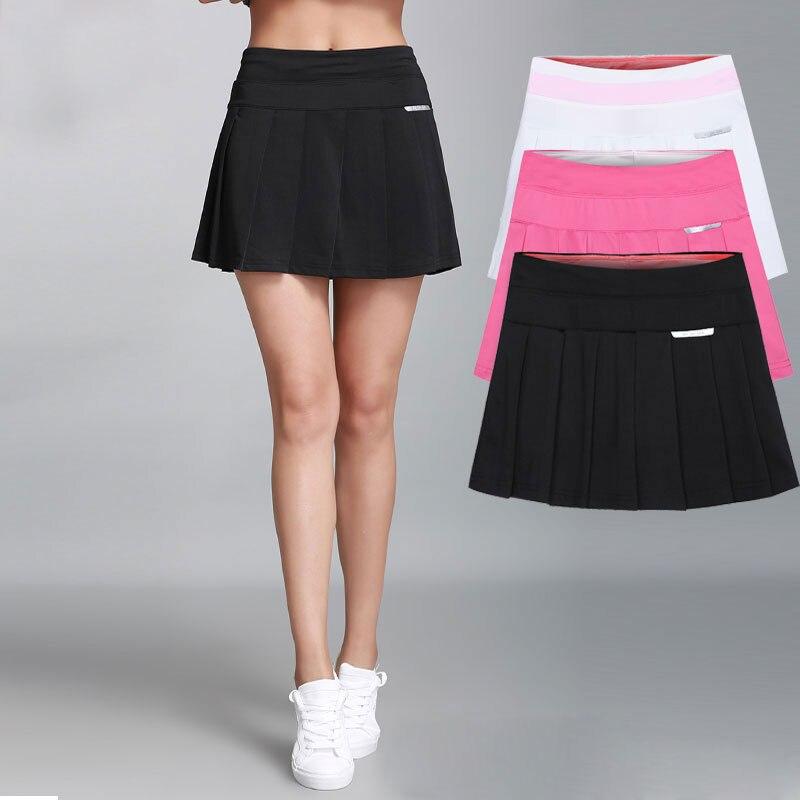 e1737a5a7f Women Pleated Tennis Skirt With Safety Pants Stretch High Waist Sport Skirt  Casual Skort Badminton Skirts