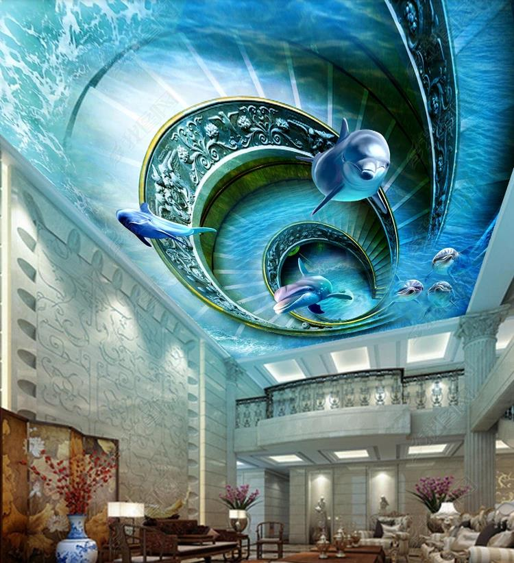 Customize 3D Ceiling Wallpaper Dolphin For Living Room Bedroom 3d Wallpaper 3d Ceiling Wallpaper Murals HD