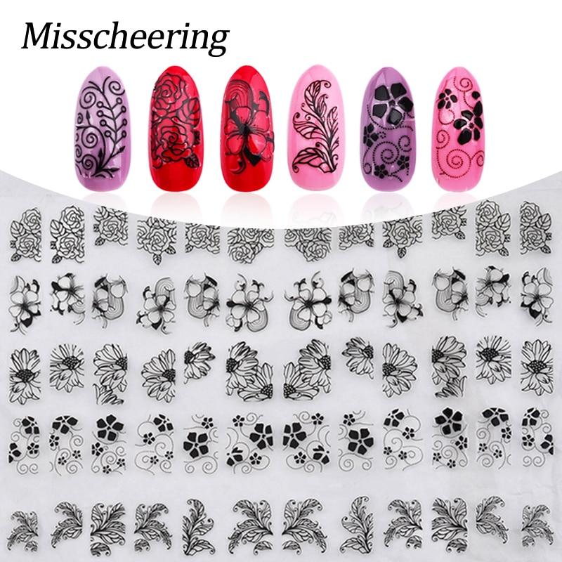 3D juodos gėlės nagų lipdukai, 108vnt / lapas Aukščiausios kokybės metalo mišinio dizainas nagų lipdukai, pasidaryk pats grožio manikiūras nagų patarimai