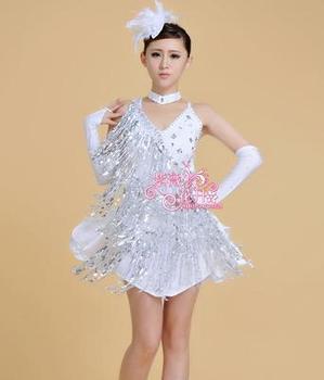 sequins tassel kids latin dress ballroom dance dress for girls dance competition salsa rumba dress latin dance dress