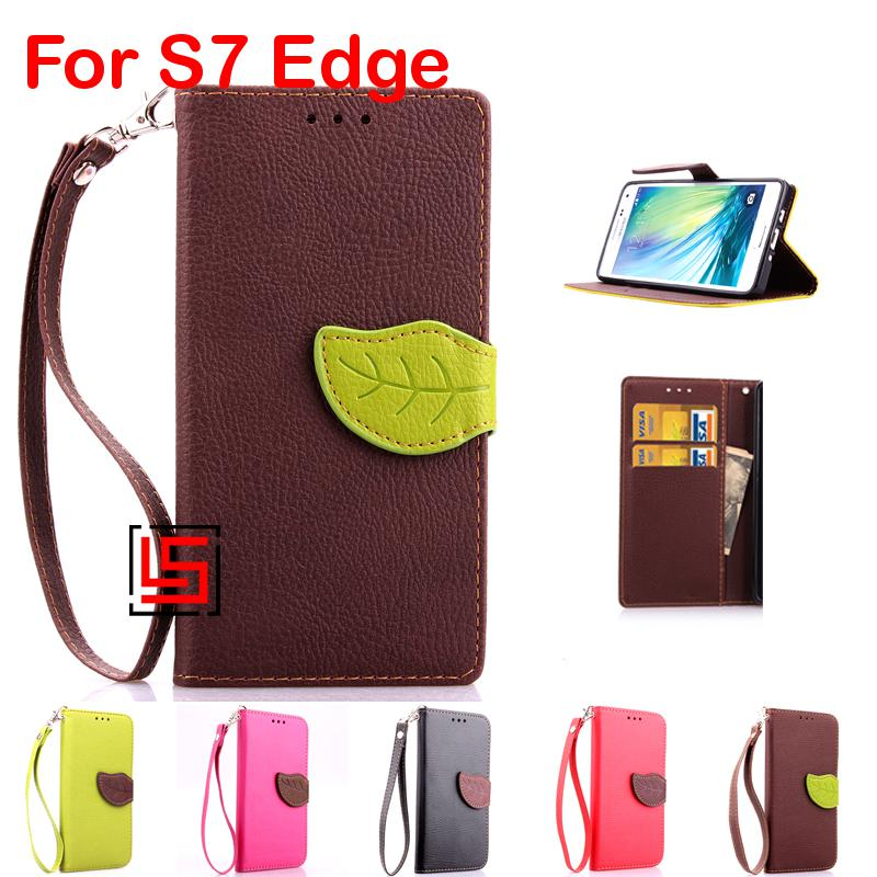 Leaf Clasp PU Leather Flip Wallet Phone Mobile Case capa capinha Cover Bag Cove For Samsung Samsug Galaxy Galaksi S7 Edge Brown
