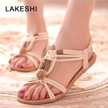 LAKESHI Women Sandals Behomian Beach Summer Women Shoes String Bead Women Flat Sandals Wedge Sandals Retro Ladies Sandals 2018(China)