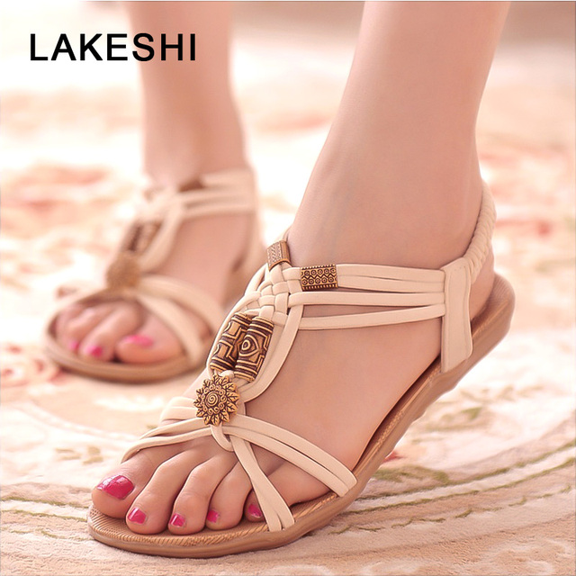 6a7575072ba03 LAKESHI Women Sandals Behomian Beach Summer Women Shoes String Bead Women  Flat Sandals Wedge Sandals Retro Ladies Sandals 2018
