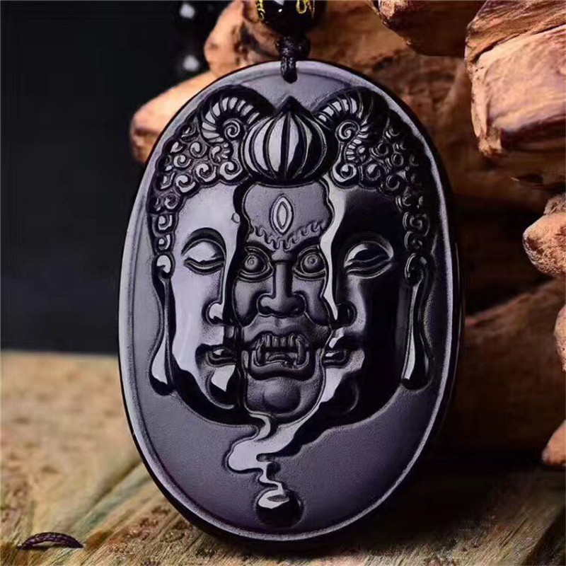 Drop Shipping Natural Black Obsidian Stone Pendant Necklace Carved Between Buddha Devil Gift For Brave Men's Stone Jades Jewelry