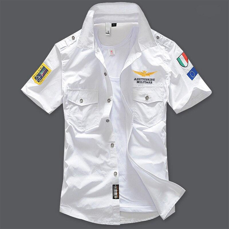 Militar camisa de manga curta dos homens camisa casual Slim fit moda camisa branca off piloto branco camisa de algodão camisas hombre 6XL