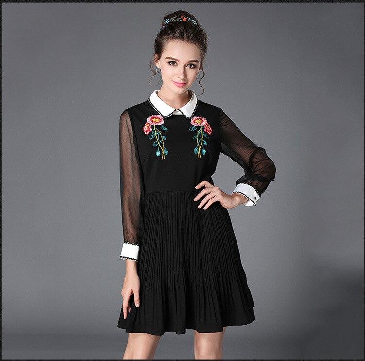 Vestido plisado elegante bordado a la moda de Otoño de 2017 con cuello vuelto y Cintura entallada cultivando lindo vestido plus sizeXXXXXL-in Vestidos from Ropa de mujer    1