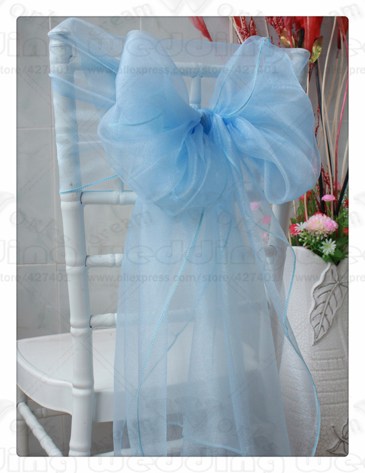 50PCS Hot Sale 65*275CM 61 color--1/3 Organza Chair Hoods/Caps/Wrap Tie Back/Sash For Wedding Event&Party&Banquet Decoration
