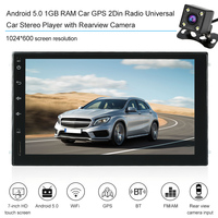 Car Radio MP5 Audio Stereo GPS 2Din Bluetooth Android 5.0 1GB RAM Universal Car Stereo Player with Rearview Camera