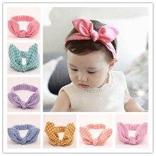 Kids Headband Bow For Girl Plaid Stripe Print Rabbit Ear Hairbands Turban Knot Turbans Accessoire Baby