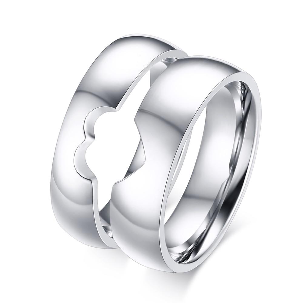 2017 Hot Exquisite Simple Titanium Steel Smooth Love Puzzle Design Couple  Rings For Women Men Valentine's