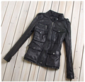 Factory Genuine Leather Jacket For Women 100% Real Goat Skin Black Soft Slim Multiple Pockets Women's Leather Spring Autumn Coat