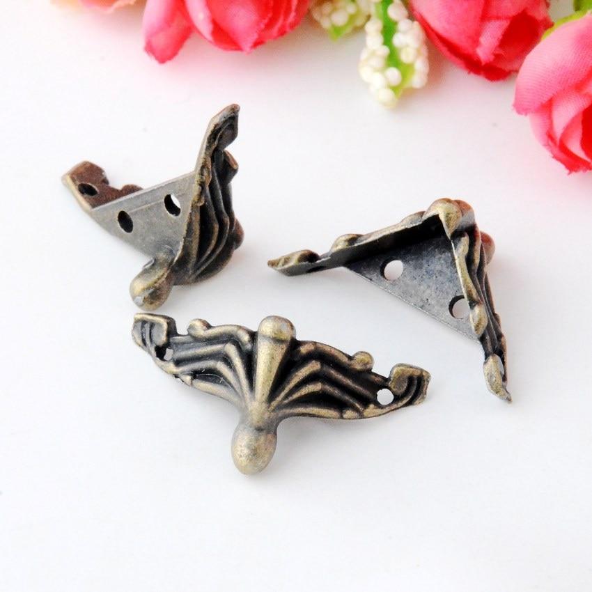 Free Shipping 8Pcs Jewelry Gift Box Wood Case Decorative Feet Leg Corner Protector 27x36mm