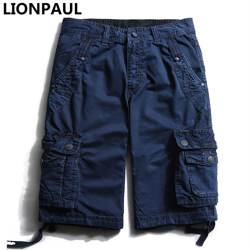LIONPAUL Rushed limited Zipper Fly Midweight Cargo Pants Flat Loose Pants Camouflage Cargo Summer Military Casual Short Men