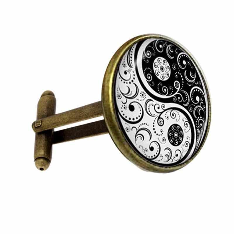 20mm fashion handgemaakte groothandel yin en yang hekserij gift bolle ronde hekserij hoge kwaliteit manchetknopen sieraden