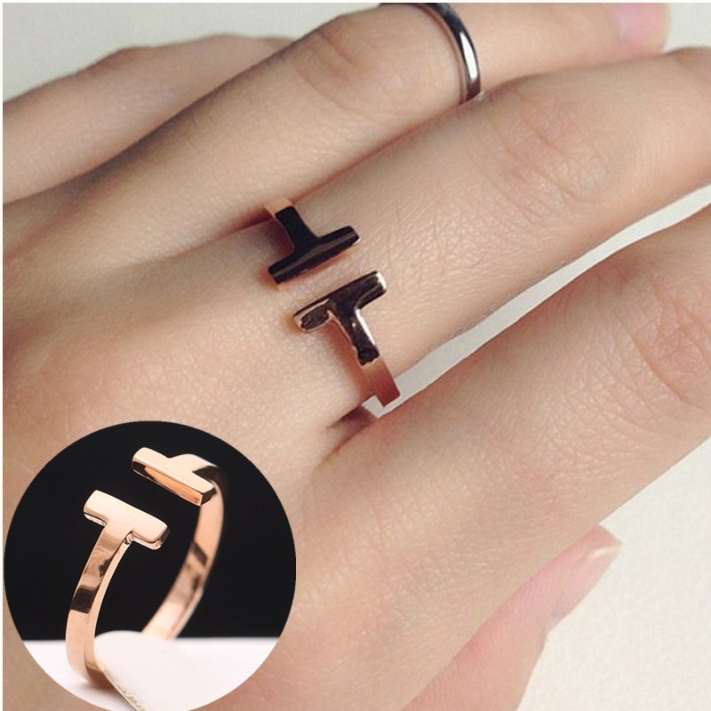 C031 New Sweet Cute Retro Gold Silver T Letter Open Finger Ring for Women Jewelry Wedding Ring adjustable