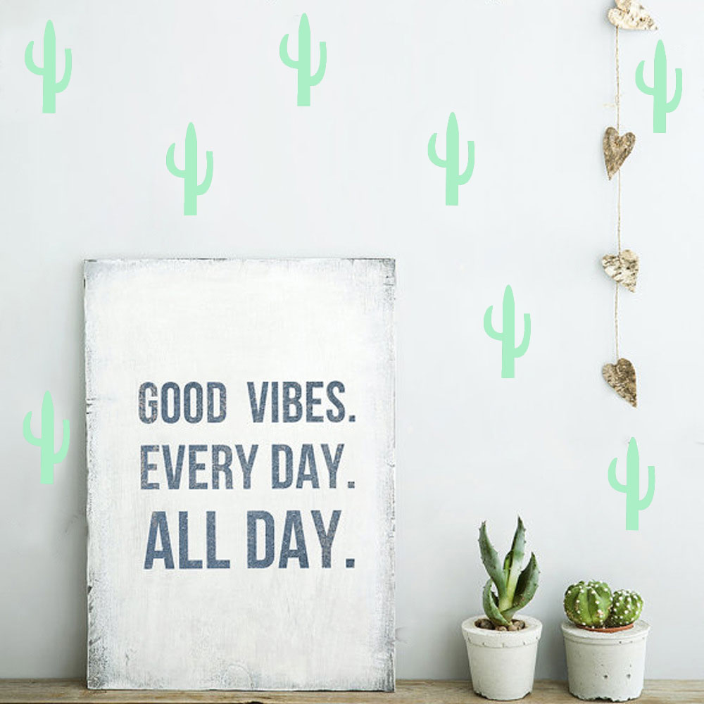 Glow In The Dark Noctilucous Wall Stickers Nordic style Shining Cactus For Kid`s Room And Livingroom Eco-friendly And Removable