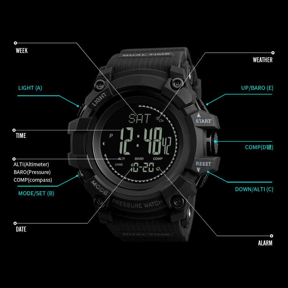 男性のスポーツ腕時計カウントダウン圧力コンパス腕時計アラームクロノ LED デジタル腕時計防水時計レロジオ Masculino