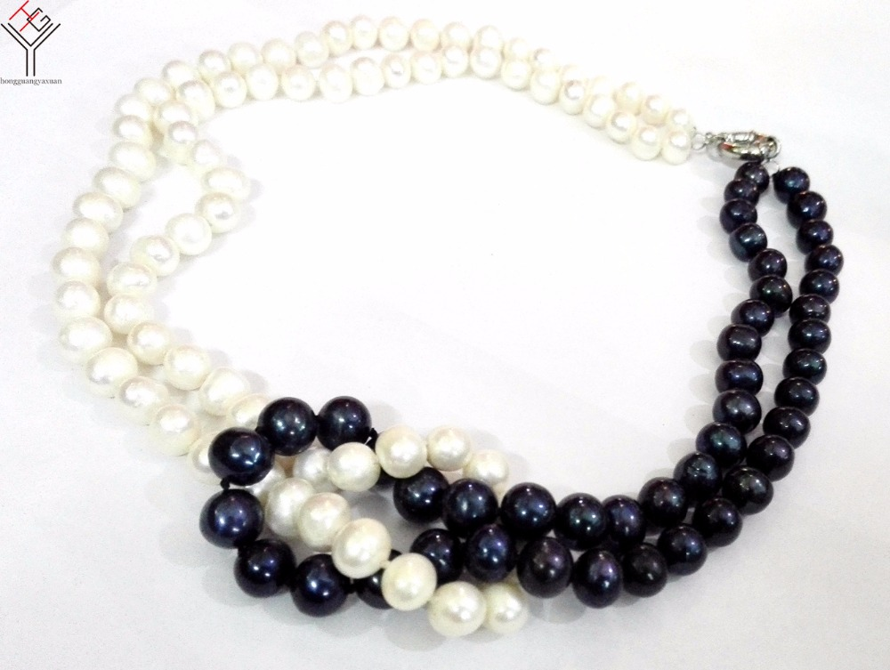 Women Jewelry 8x9mm white black pearl 2 rows necklace pearl handmade real natural freshwater pearl gift