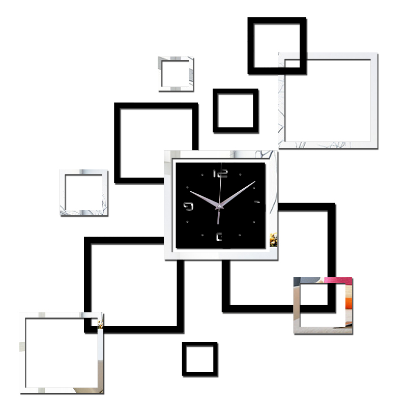 2016 гостиная новый настенные часы 3D поделки часы украшения дома часы horloge murale кварц акриловые зеркало наклейки Бесплатная доставка