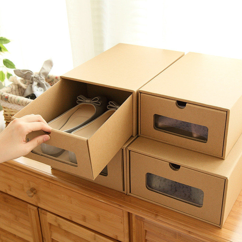 1pcs Thickened Drawer Type Shoe Storage Box With Window 2017 Transparent  Foldable Paper Kraft Home Decktop