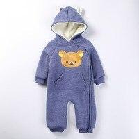 Cartoon Bear Baby Romper Long Sleeve Winter Overalls For Kids Fleece Jumpsuit Newborn Baby Warm Baby