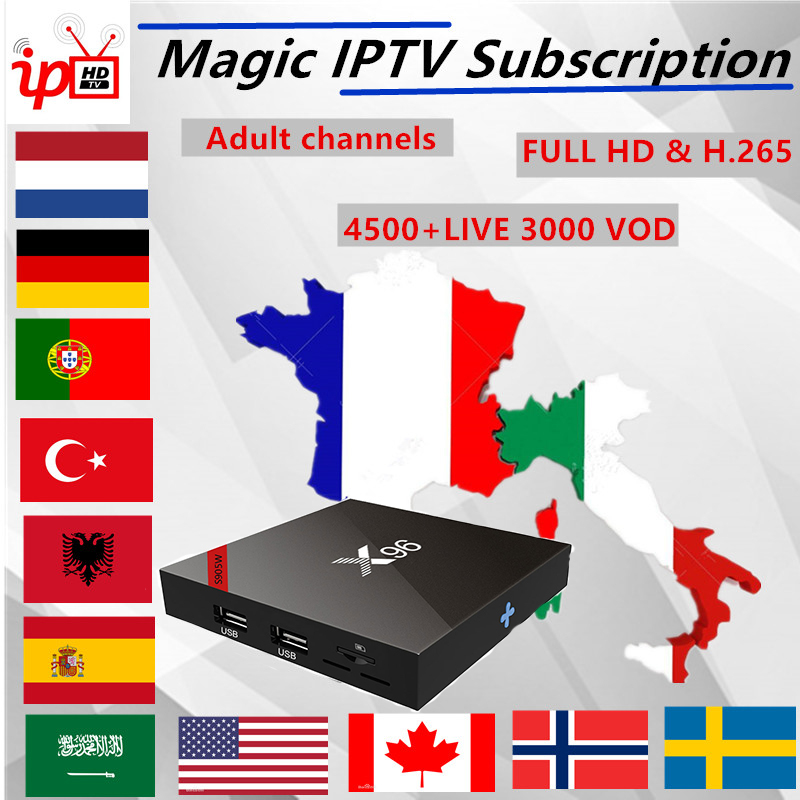 Magic IPTV Subscription X96W Android tv box Italy France German UK 4000+Live 50,000 VOD+ Adult xxx iptv m3u mag Smart tv box