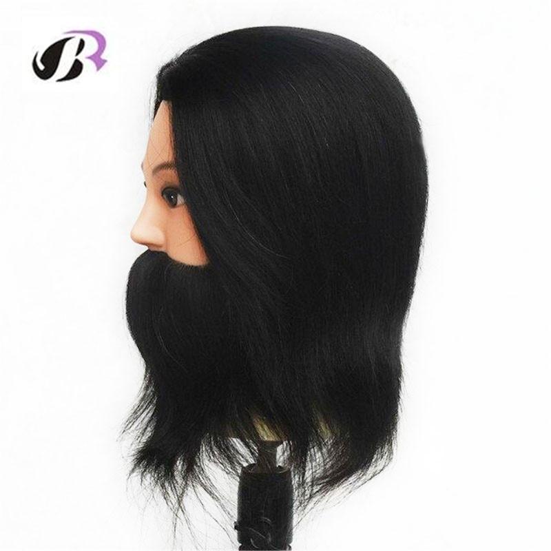 100% Real Human Hair Beard Hairdressing Training Man Head Mannequin Doll Wig Heads Hairdressers Hairdressing Manikin Training