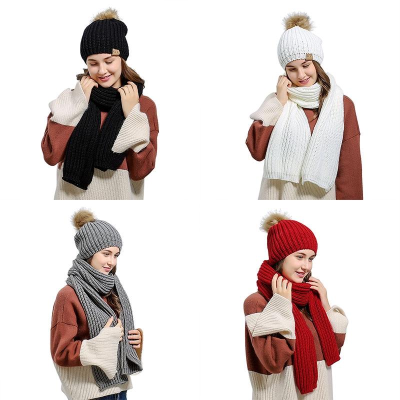 Knit Scarf Hat Set Women Autumn Winter With Hair Ball Diamond Pattern Wool Knit Scarf Hat Set New