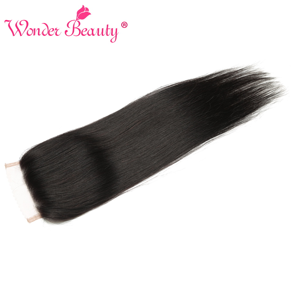 Wonder Beauty non Remy Human Hair Indian Straight Lace Closure 4x4 middle/Three/Free closure Hair Swiss lace 8-22inches 5pieces