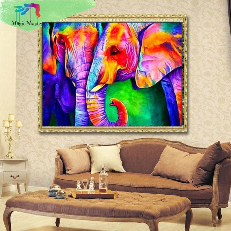 "Full ROUND Diamond 5D DIY Diamond Painting ""Colorful Elephant"" Embroidery Cross Stitch Rhinestone Mosaic Painting Decor Gift PC7"