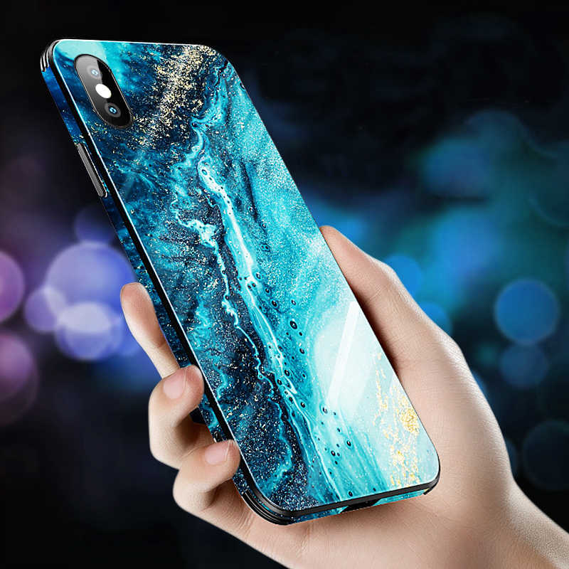 Luxury Marble Glass Cover Case for iPhone X XS MAX XR XS Glass Silicone Phone Case for iPhone 7 8 Plus Cases for iPhone 6 S 6s