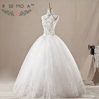 Halter Crystal Lace Wedding Ball Gown Keyhole Front Neck Wedding Dress Debutante Dress Vestidos de Noiva Real Photos