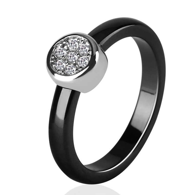 Yeni Tasarım 3mm Kristal Seramik Yüzük Siyah Beyaz Renk Zarif Yüzük AAA Zirkonya Yüzük Alyans moda takı