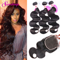 Peruvian Body Wave With Closure 3 Bundles Human Hair Weave With Closure 7AUnprocessed Peruvian Virgin Hair With Closure BodyWave